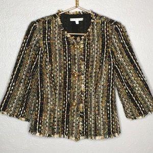 CAbi Multicolored Boucle Tweed Fringed Jacket